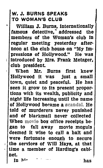 W.J. Burns, Hollywood scandal