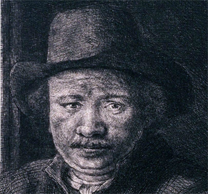Rembrandt drawing at a window