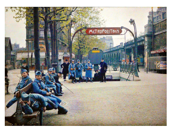 autochrome, French soliders in Paris 1920