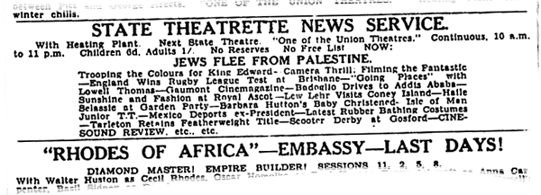 "Fox Movietone ""Jews Flee from Palestine"" 1936 newsreel ad"