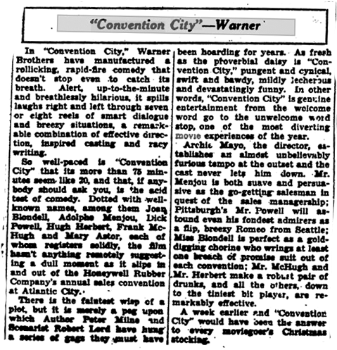 Convention City film review December, 1933