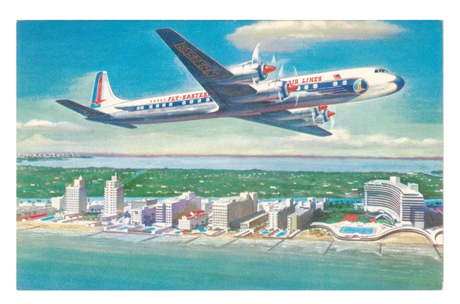 postcard of Eastern Airlines plane over Miami Beach
