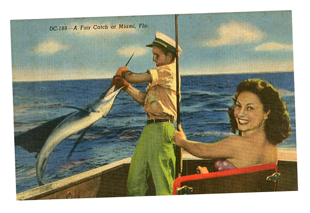 postcard of Miami 1950s