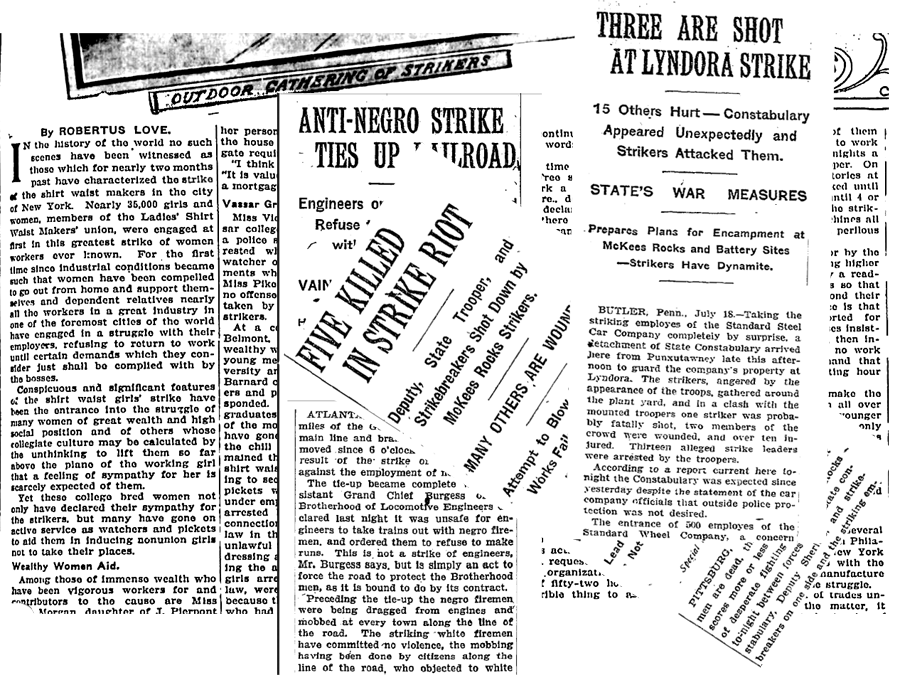 newspaper clippings of 1909 strikes and conflicts